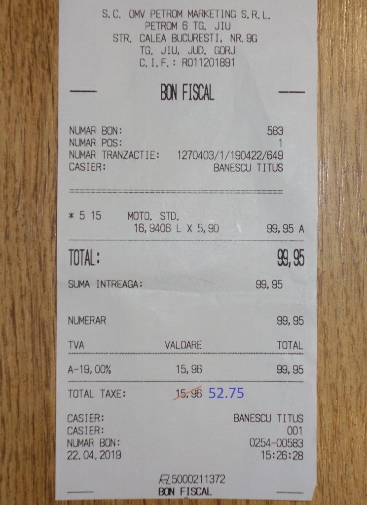 bon-fiscal-motorina carburant tva-2019 - taxe si accize