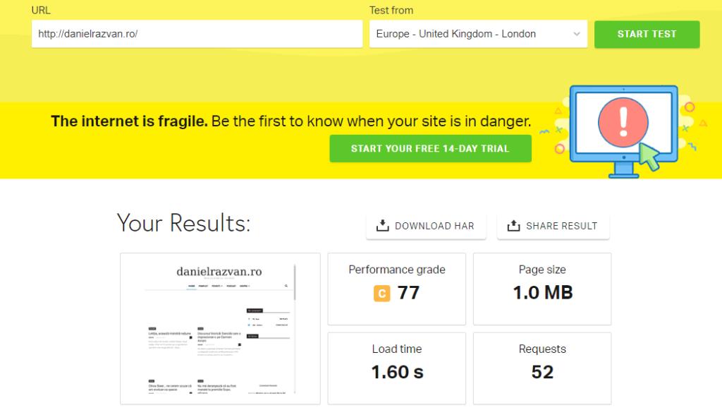 test viteza blog daniel razvan
