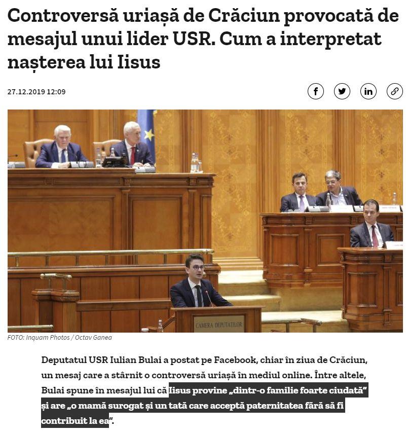 Controversă uriașă de Crăciun provocată de mesajul unui lider USR Iulian Bulai